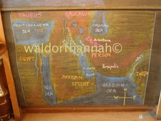 Waldorf ~ 5th grade ~ Ancient Persia ~ Map: Middle East ~ chalkboard drawing