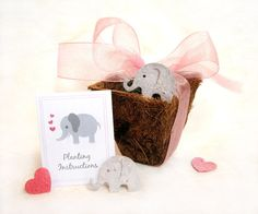 25 Elephant Baby Shower Favors - Plantable Paper Flower Seed and Plantable Pots Kit