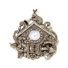 "Heidi Daus ""Don't Be Late"" Crystal Cuckoo Clock Pin"