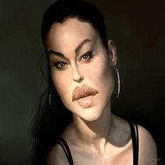 Caricatura de la actriz italiana Monica Bellucci, una de las actrices más bellas del mundo, realizad...