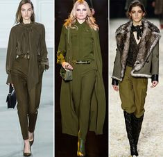 The post of World War influenced fashion and still continues to do so until this day. It influenced from shirts, sweatshirts, pants, and jackets. This army green runway look has roots of the post war with button up shirts and cargo pants.
