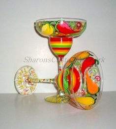 Chili Peppers Hand Painted Seye of 2 / Margarita Glasses,Red, Green, Orange, Yellow Hot Chili Peppers
