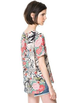 Multicolor Floral Round Neck Loose Chiffon Blouse - Blouses - Tops