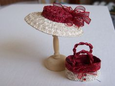 Handmade 1/12 miniature dollshouse red/ivory straw hat and bag