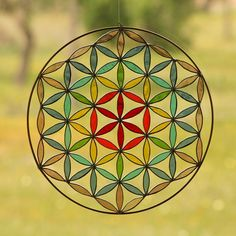 Stained glass  Suncatcher Flower of life mandala Yoga by Mownart, $135.00