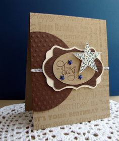 handade card by Empty Nest Crafter ... kraft and brown ... tone on tone background stamped with birthday sentiments ... masculine look ... like it!!