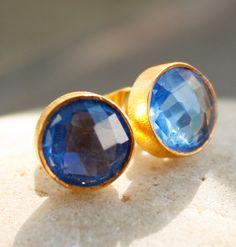 Gold Royal Blue Quartz Earrings - September Sapphire - September Birthstone, September Birthday. $45.00, via Etsy.