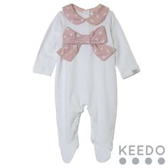 Jasmine grow - The contrasting Peter Pan style collar and bow detail are the main features of this cotton baby grow Winter Sky, Baby Grows, Blush Color, Accent Colors, Peter Pan, Jasmine, Kids Outfits, Contrast, Bow