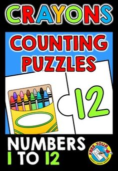 CRAYONS COUNTING JIGSAW PUZZLES: NUMBERS 1 TO 12: COUNTING AND MATCHING TO NUMERAL ★ Do you want your students to practice COUNTING SKILLS, NUMBER VALUE AND RECOGNITION OF NUMERALS UP TO 12 in an interactive and fun way? This resource is just for you! These 12 (2-piece) jigsaw puzzles are ideal. You can use them during lessons, in Math centers and home-schooling.