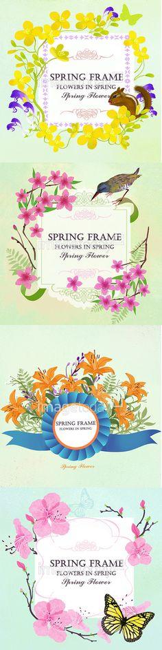 이미지투데이 일러스트 계절 봄 꽃 다람쥐 동물 나뭇가지 프레임 나리꽃 백그라운드 나비 진달래 imagetoday season spring flower squirrel animal branch frame background butterfly illust illustration