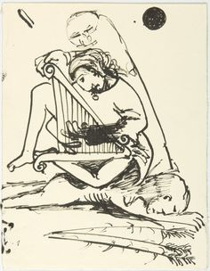 Image of Untitled (Figure and harp, lying figure and wheat) 1985.