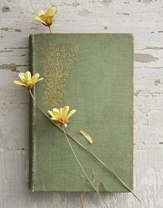 Still life of old book with flowers.