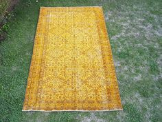 """5'6"""" x 9' Vintage Anatolian Oushak Rug ,New Fashion Low Pile Rug, Living Room Rug,Yellow color Rug,Handwoven Rug,Rug,Rugs,Oushak Rug, Carpet"""