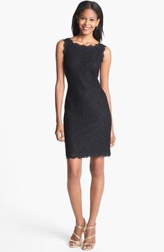 Adrianna Papell Boatneck Lace Sheath Dress (Regular & Petite) | Nordstrom