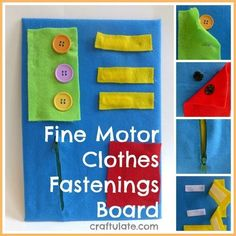 Fine Motor Clothes Fastenings Board from Craftulate Life Skills Activities, Fine Motor Activities For Kids, Learning Activities, Dyslexia Activities, Kids Motor, Autism Resources, Learning Disabilities, Physical Activities, Montessori Activities