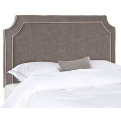 Give your guest room or master suite a custom designer look with the beautifully upholstered Dane full queen size headboard. Rich with designer detailing, this transitional design features notched corners and a double row of beige piping contrasting charcoal brown linen-blend upholstery fabric. The impeccably crafted Dane headboard attaches to any standard size metal frame bed.