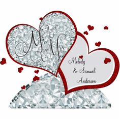 Mr and Mrs | Ruby and Diamond Hearts Acrylic Cut Out #wedding