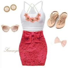 My Vegas look Hot Outfits, Cute Casual Outfits, Spring Outfits, Casual Ootd, Casual Chic, Resale Clothing, Girl Clothing, Gown Skirt, Lace Skirt