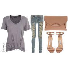 Ella Moss shirt, Saint Laurent jeans, Manolo Blahnik sandals and givenchy clutch