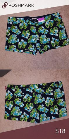BNWT FLORAL SHORTS Brand new with tags merona floral shorts sz 18. Shorts are navy blue with light blue and green floral pattern. Shorts have stretch. Merona Shorts