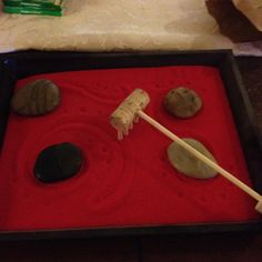 DIY zen garden; like the use of the cork and bamboo skewer