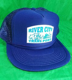 cbd58ed4592 River City Trans Port Transport Hat Bulldog Trucker Mesh Cap Snapback Blue   Madhatter  TruckerHat