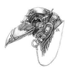 A creative steampunk raven head tattoo design for original guys.
