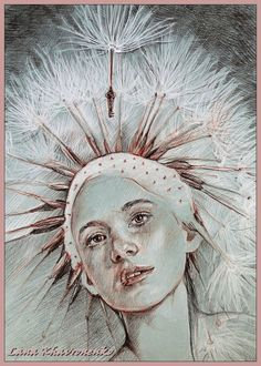LORETANA on DeviantArt   PASTEL PENCIL Photo Art, Dandelion Art, Beautiful Artwork, Fantasy Art, Flower Art, Art Projects, Female Art, Artwork, Angel Art