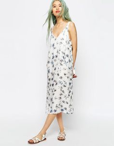 Image 1 of ASOS Overall Style Midi Slip Dress in Digital Floral Print