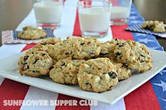 Sunflower Supper Club: Red, White and Blue Cookies (Oatmeal Cookies with Cranberries, Blueberries and White Chocolate Chips)