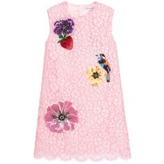 Girls amazing, pink lace dress by Dolce & Gabbana, with beautiful, sequinned and beaded appliqué of flowers, a strawberry and a bird. Made in a cotton and viscose blend, it has a covered zip fastener at the back and a silky viscose lining with a lacy trim.