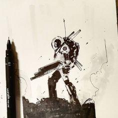regram @joseba_alexander #sketch #sketchdaily #sketchbook #moon #warrior #blackandwhite #drawing #cosmonaut #soldier #inkbrush #ink