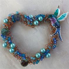 hummingbird heart wreath cobalt turquoise egg shell blue beaded heart  brass copper silver wires heart wreath ornament romantic  ooak
