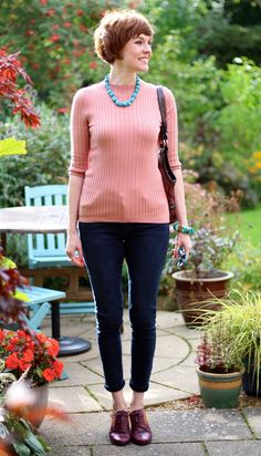 Fake Fabulous | Chunky Turquoise necklace, blush jumper & burgundy tartan brogues.