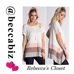 Beautiful color block tunic top Short sleeve color block top. 95% rayon 5%.  Matches the leggings fitted leggings in the closet that are brown/peach/gray colors beautifully.   Size chart is a reference but top is running one size large.  Price is firm unless bundled.  No Trades. Boutique Tops Tunics