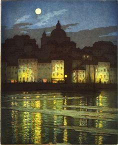 huariqueje: Moonlight, Taranto Italy - Frederick Marriott English painter 1805-1884
