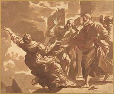 Jan de Bisschop - The Death of Sapphira Drawing