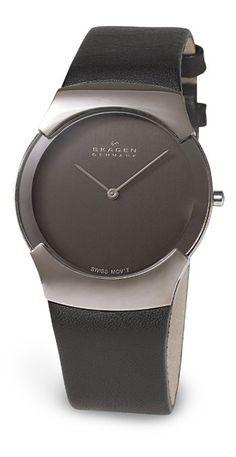 Skagen Men's 582XLSLM Swiss Black Leather Watch: Watches: Amazon.com