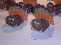 Hershey Nuggets into little turkeys. Could add a name for a place card. Or a craft to keep little ones busy while the grown ups are cooking.