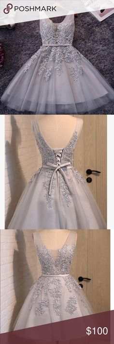 Short light gray homecomecoming dress Lace Applique dress with a lace up back, Never worn!!! Dresses Mini