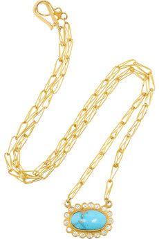 Halleh  18-karat gold, diamond and Persian turquoise necklace