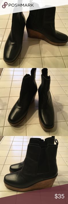 Black leather wood platform ankle boots Very good condition. Worn once with wear as shown. Look exactly like Bed Stu. kdb Shoes Ankle Boots & Booties