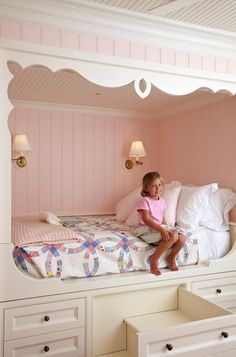 this is sooo cute! Girl's Bedroom Girl's Bedroom Girl's #BedRoom I like the steps are a drawer and can be pushed in