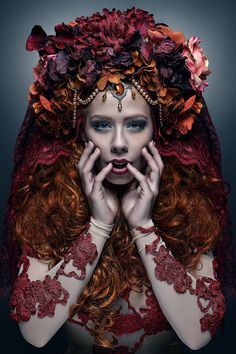 MADE TO ORDER Day of the dead floral bridal Fantasy headdress headpiece wig antlers orange red fall autumn