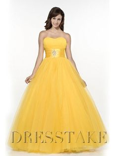 Unique Ball Gown Sweetheart Floor-length Organza Yellow Quinceanera Dresses