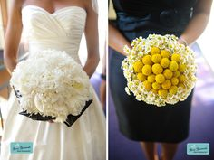 white black and yellow white peony bouquet yellow craspedia ball bridesmaids bouquet with small dasies  I LOVE the right one!!