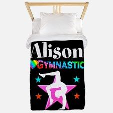 Pink Gymnast Star Twin Duvet Your Gymnast will be thrilled to decorate her room with our awesome personalized Gymnastics bed covers and pillow cases.   http://www.cafepress.com/sportsstar/10114301 #Gymnastics #Gymnast #WomensGymnastics #Lovegymnastics #Personalizedgymnast
