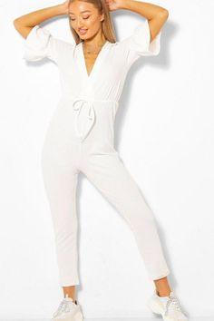 Womens Plunge Front Tie Waist Frill Sleeve Jumpsuit - tan - 12 - Plunge Front Tie Waist Frill Sleeve Jumpsuit White Catsuit, Jumpsuit With Sleeves, No Frills, Tie, Dresses, Women, Fashion, Gowns, Moda