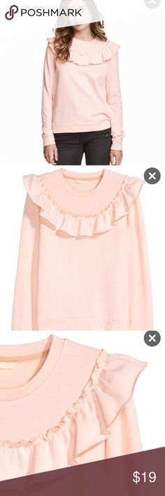 Brand new Ruffle Sweater New with tags blush pink H&M Ruffle sweatshirt. Still available online. H&M Sweaters Crew & Scoop Necks