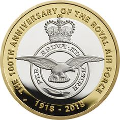 This celebrates the centenary of the RAF which was formed in 1918 during WWI. It features the badge of the RAF. Raf Centenary, English Coins, Gold Coins, Mint Coins, Old Money, Battle Of Britain, Challenge Coins, Rare Coins, Coin Collecting